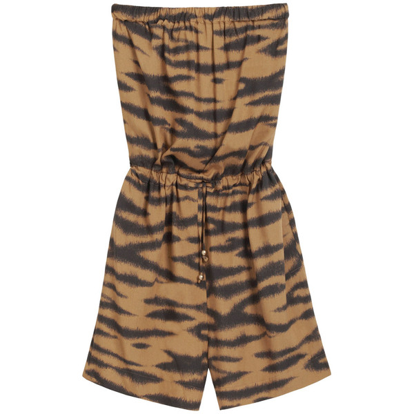 Beach Playsuit Brown Fuzzy Tiger Viscose - Mulberry - Polyvore