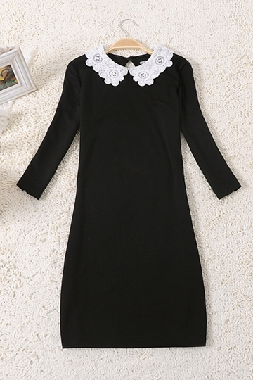 Classic Preepy Look Dress with Lace Collar [FKCH0027]- US$25.99 - PersunMall.com