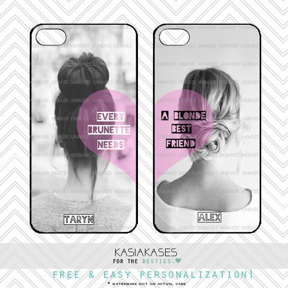 new concept f504e 3359f BFF Case / Blonde and Brunette iPhone 4 Case Best Friends iPhone 5 Case  iPhone 4S Case iPhone 5S Case One For Your BFF personalized gift