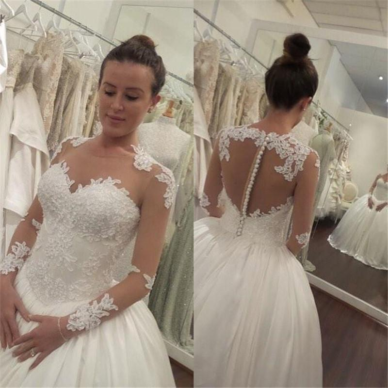 Victorian puffy long sleeves wedding dresses 2016 cheap for Princess style wedding dresses sweetheart neckline