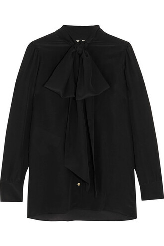 blouse bow black silk top
