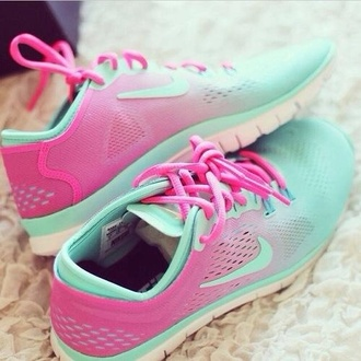 shoes nike roshe run mint ombre