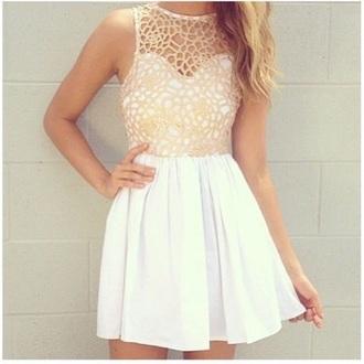 dress cream dress white dress pretty