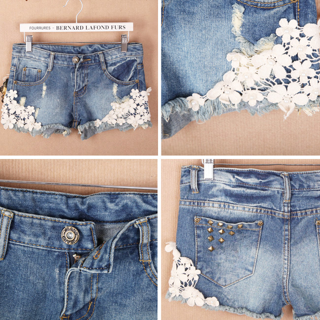 Fashion Womens Flower Skinny Jean Short Cut-Off Frazzle Denim Lace Pant Trouser | eBay