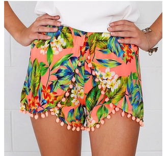 shorts tumblr floral dotted shorts leaves orange orange shorts floral shorts
