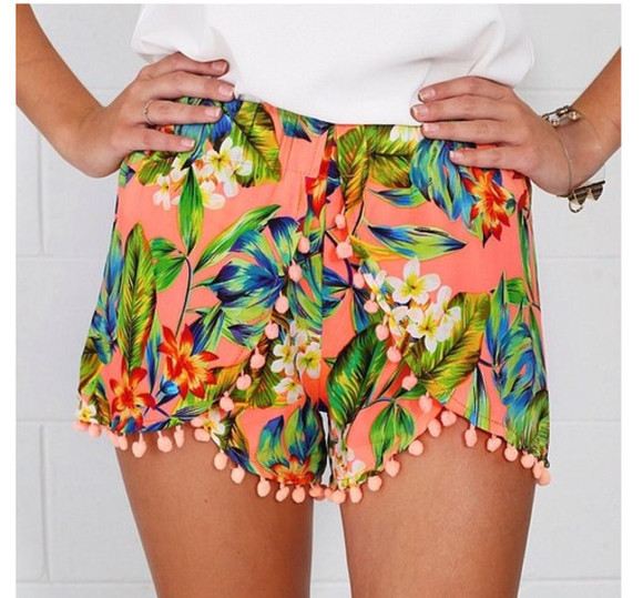 shorts orange shorts orange dotted shorts tumblr floral leaves floral shorts