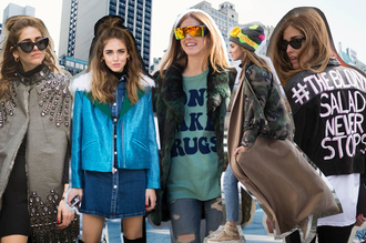 the blonde salad blogger fashion week 2015 mirrored sunglasses camo jacket blue jacket scarf hat shoes jeans jacket bag sweater coat sunglasses