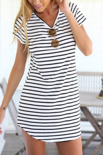 dress casual stripes fashion style cool basic summer beach spring outfits black and white spring beautifulhalo