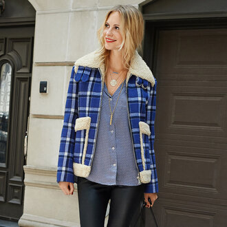 winter jacket blue jacket poppy delevingne flannel shearling jacket