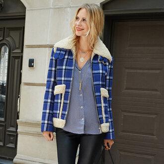 winter jacket blue jacket poppy delevingne flannel shearling jacket jacket blouse plaid marc jacobs