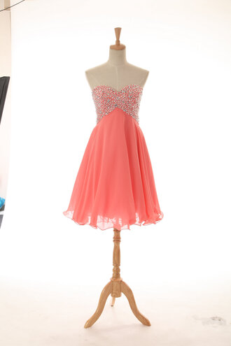 dress prom dress fashion party dress short dress sweetheart dresses coraldress coral