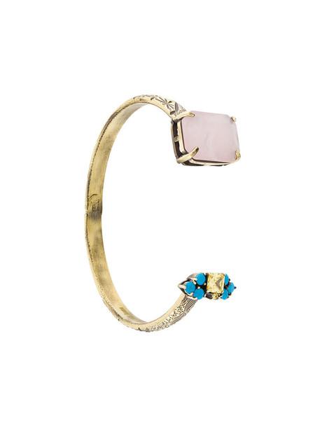 IOSSELLIANI cuff open rose women gold grey metallic jewels