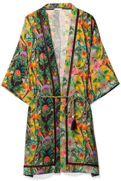 Matthew Williamson kimono chiffon silk green top