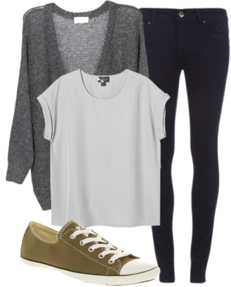 converse white t-shirt blouse black jeans