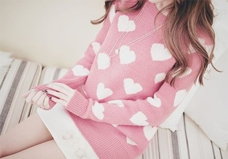 sweater heart pink white