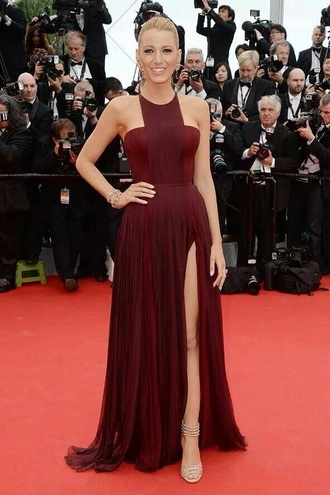 red dress blake lively gown split leg dress