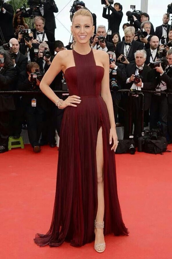red dress blake lively gown split leg dress