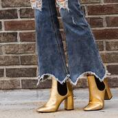 shoes,tumblr,boots,gold,gold boots,ankle boots,pointed boots,high heels boots,jeans,denim,blue jeans,ripped jeans,flare jeans,gold shoes,metallic boots,frayed jeans