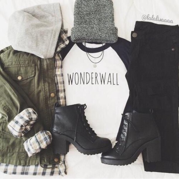 jacket t-shirt top hat hair accessory jumpsuit grey black karriert dark green shoes blouse jeans baseball tee black and white beanie ankle boots black jeans outfit