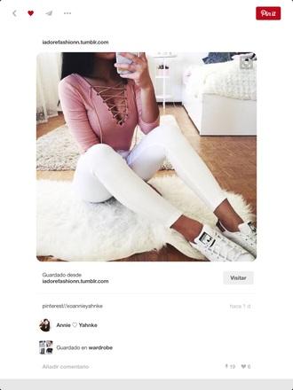 t-shirt shirt pink rose pink modern instagram white jeans top