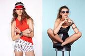 shorts,nastygal,nastygal.com,shopnastygal.com,printed shorts,corset,sunglasses,bracelets,visor,white shorts,cut off shorts,cutoff denim shorts,tank top,shirt