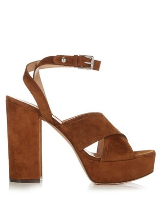 sandals platform sandals suede dark tan shoes