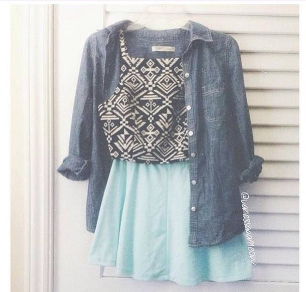 top teal denim jacket teal skirt crop tops black top white top black and white denim aztec aztec shorts