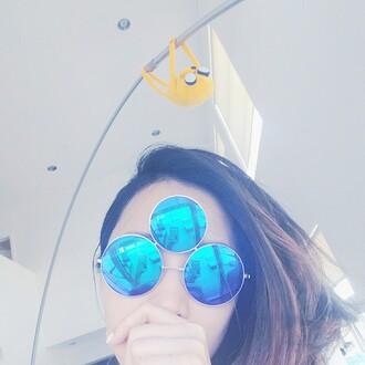 sunglasses tumblr hipster blue metallic alien mirrored sunglasses summer accessories accessories instagram