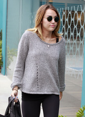 sweater,grey sweater,miley cyrus