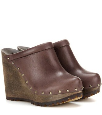 clogs leather brown shoes