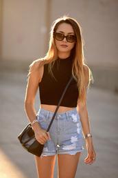 hapa time,blogger,distressed denim shorts,black crop top,High waisted shorts