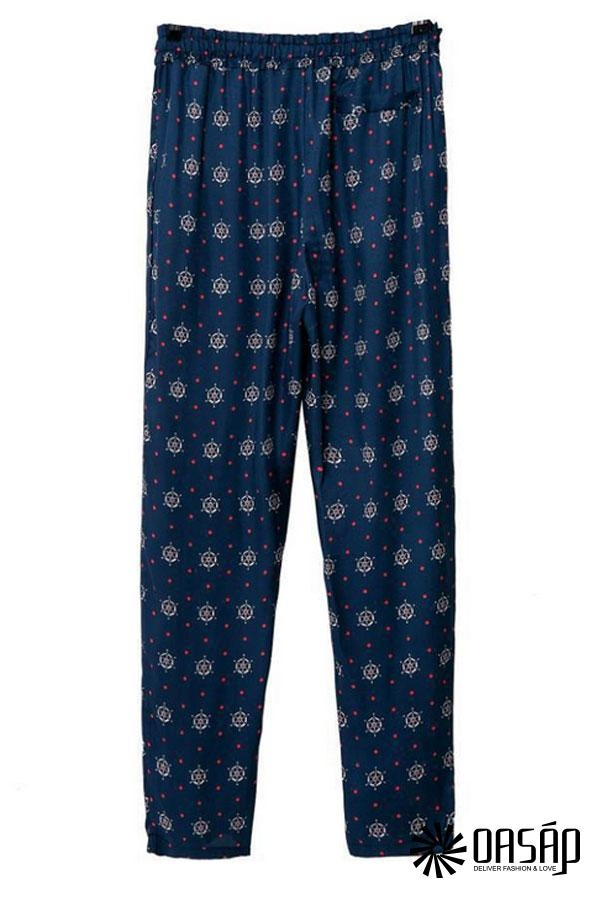 Navy Geo Pattern Pants - OASAP.com