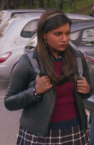 jacket the mindy project mindy kaling leather jacket earrings