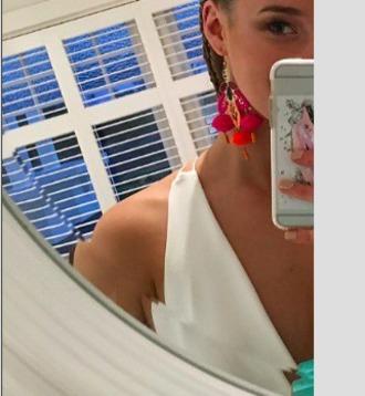earphones earrings pom poms pom colorful bright boho chic mirror dangly tassel hot pink orange big accessorise statement earrings