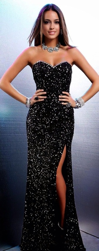 dress black sparkly long strapless