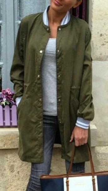 blouse khaki green jacket