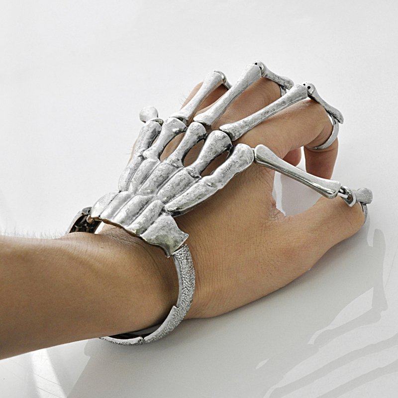 Free shipping men love jewelry hand skeleton vintage bangle with rings