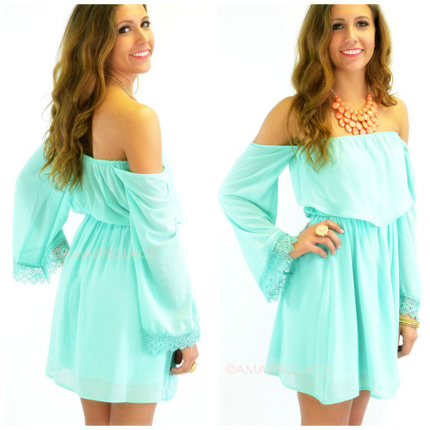 3a001dd7f2e6 dress off the shoulder dress mint pretty details fit and flare summer  trendy cute beach