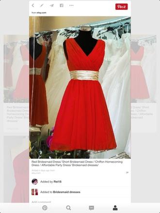dress red bridesmaid dress chiffon gold bebelt belt