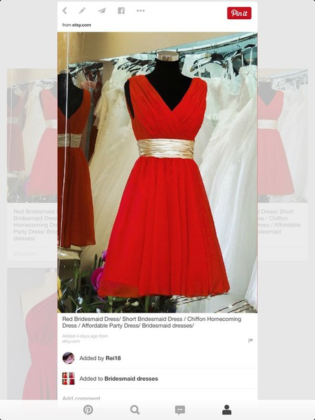 dress red bridesmaid dress chiffon gold bebelt belt