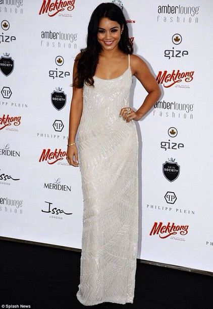 vanessa hudgens spaghetti strap gorgeous white prom dress dress