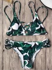 swimwear,girly,leaf print,bikini,bikini top,bikini bottoms,green,white