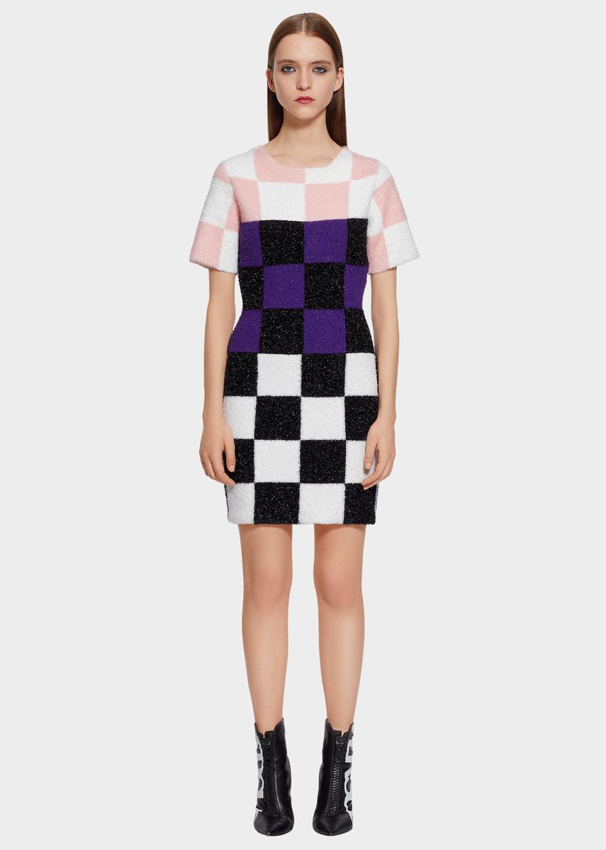 d15e7a55db Versus Versace Macro Checkerboard Furry Nylon Mini-Dress for Women | Online  Store EU