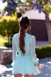 romper,tumblr,blue romper,long sleeves,long sleeve romper,hair,hairstyles,braided,braid,brunette
