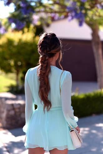 romper tumblr blue romper long sleeves long sleeve romper hair hairstyles braided braid brunette