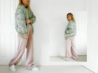 i am charlotte martin blogger pants down jacket wide-leg pants pastel