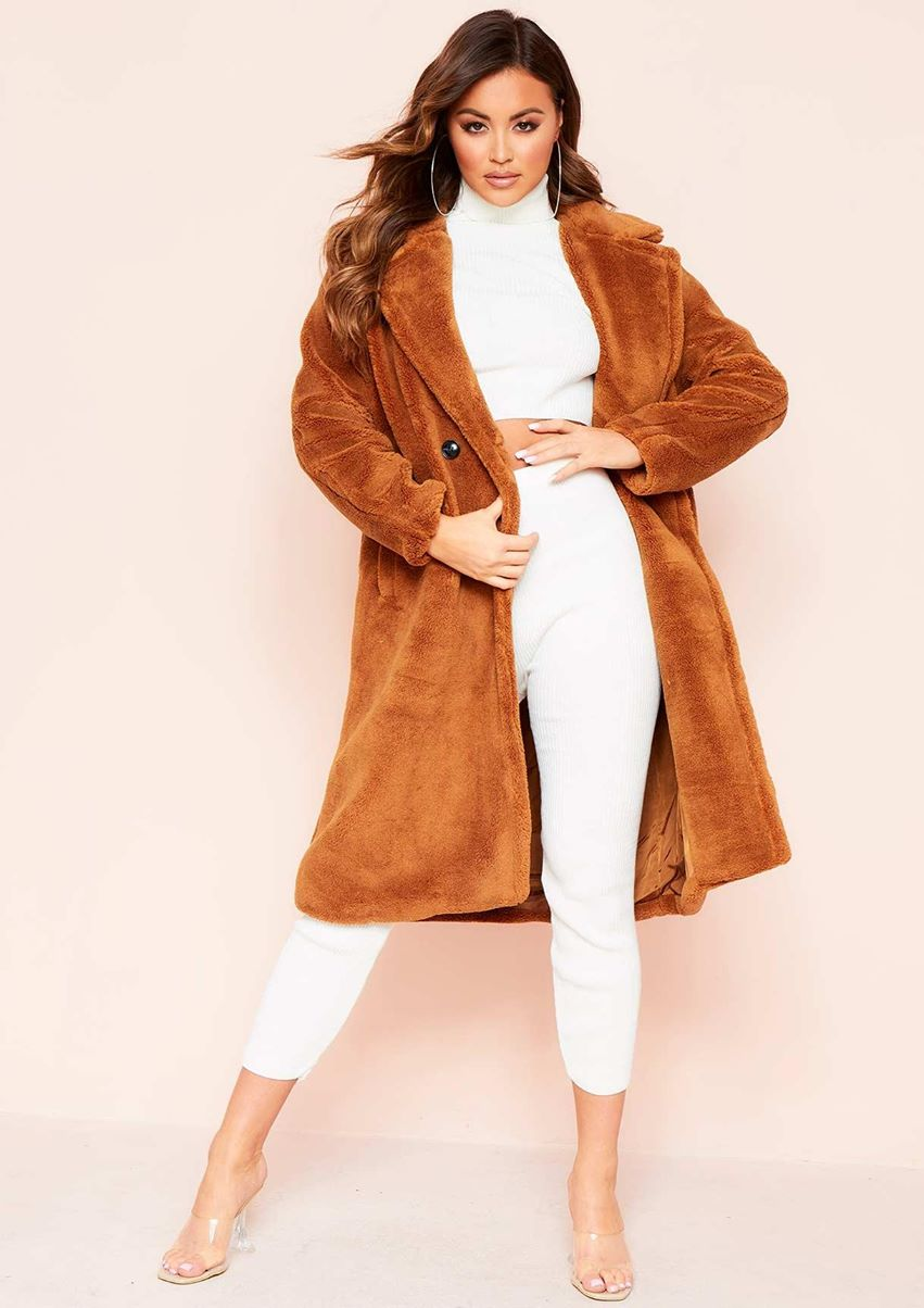 Remy Brown Faux Fur Midi Oversized Coat