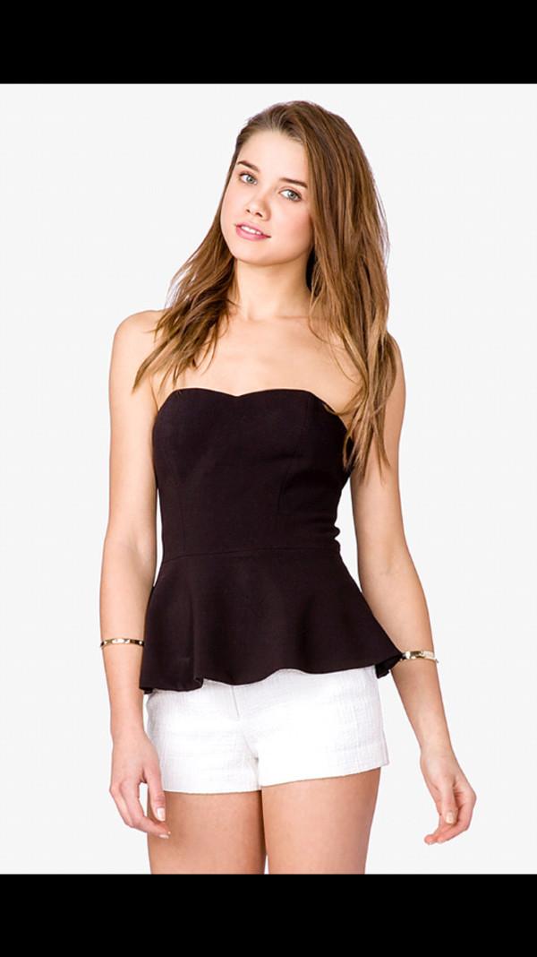 peplum top black white shorts jewels