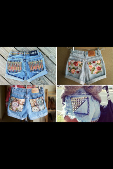 denim vintage shorts cats flowered shorts aztec