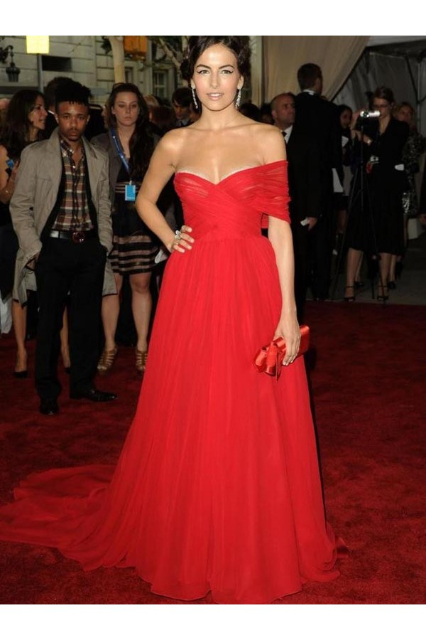Fantastic A-line Sweetheart Chiffon Red Prom Dresses/Evening Dress With Ruffles